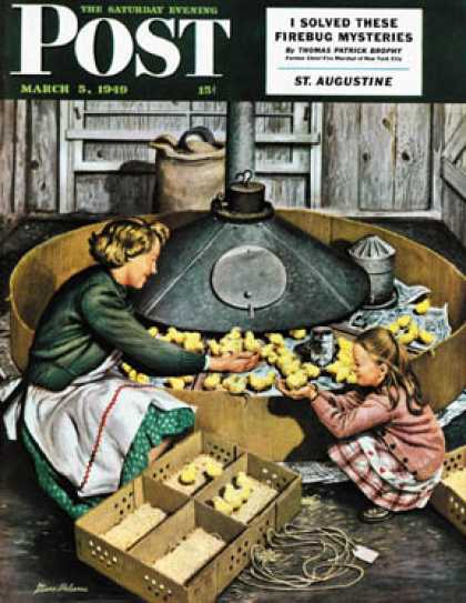 Saturday Evening Post - 1949-03-05: Chicks in Incubator (Stevan Dohanos)