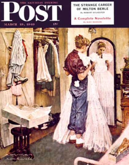 "Saturday Evening Post - 1949-03-19: ""Prom Dress"" (Norman Rockwell)"