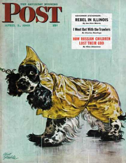 Saturday Evening Post - 1949-04-02: Butch in Raingear (Albert Staehle)