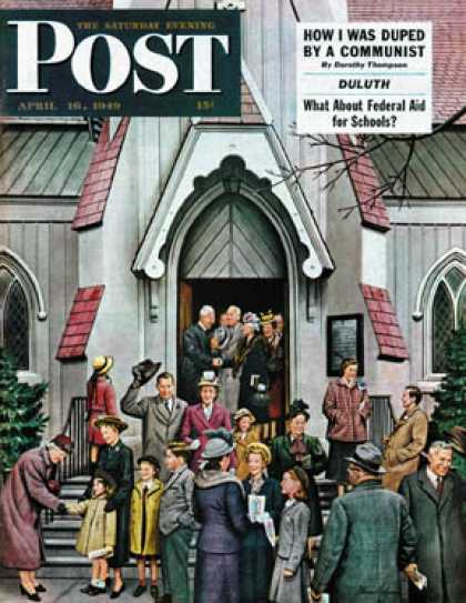Saturday Evening Post - 1949-04-16: After Church (Stevan Dohanos)