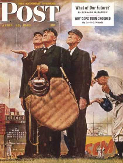 "Saturday Evening Post - 1949-04-23: ""Three Umpires"" or ""Game   Called for Rain"" (Norman Rockwell)"