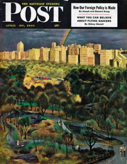 Saturday Evening Post - 1949-04-30: Central Park Rainbow (John Falter)