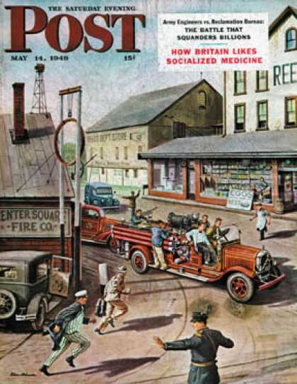 Saturday Evening Post - 1949-05-14: Small Town Fire Company (Stevan Dohanos)