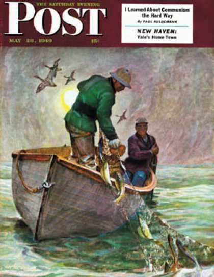 Saturday Evening Post - 1949-05-28: Fishing with Nets (Mead Schaeffer)