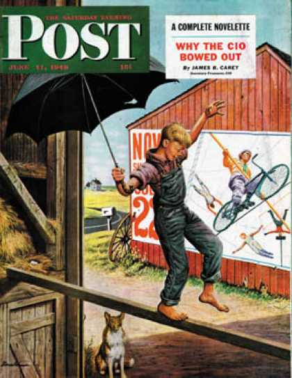 Saturday Evening Post - 1949-06-11: Walking the Tightrope (Stevan Dohanos)