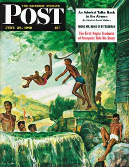 Saturday Evening Post - 1949-06-25: Swimming Hole (Mead Schaeffer)