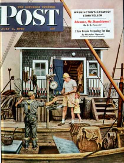 Saturday Evening Post - 1949-07-02: Buying Lobsters (Stevan Dohanos)
