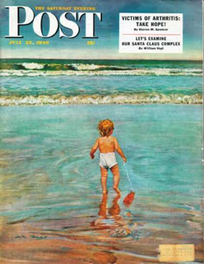 Saturday Evening Post - 1949-07-23: Baby at the Beach (Austin Briggs)