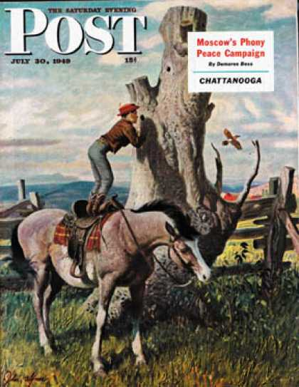 Saturday Evening Post - 1949-07-30: Boy on Horse (John Clymer)