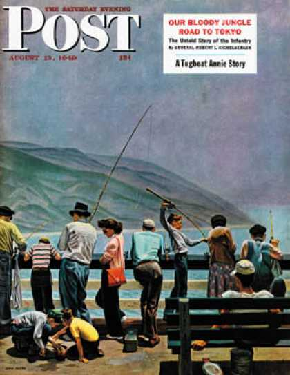 Saturday Evening Post - 1949-08-13: Pier Fishing (John Falter)