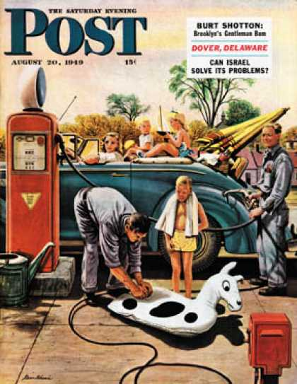 Saturday Evening Post - 1949-08-20: Inflating Beach Toy (Stevan Dohanos)