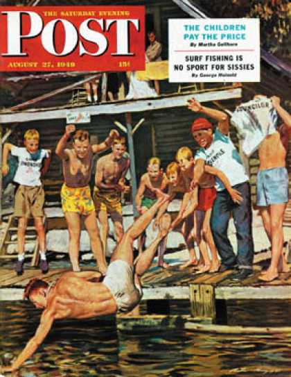 Saturday Evening Post - 1949-08-27: Wet Camp Counselor (Austin Briggs)