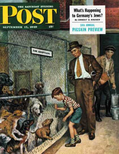 Saturday Evening Post - 1949-09-17: Dog Pound (Amos Sewell)