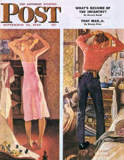 "Saturday Evening Post - 1949-09-24: ""Before the Date"" (Norman Rockwell)"