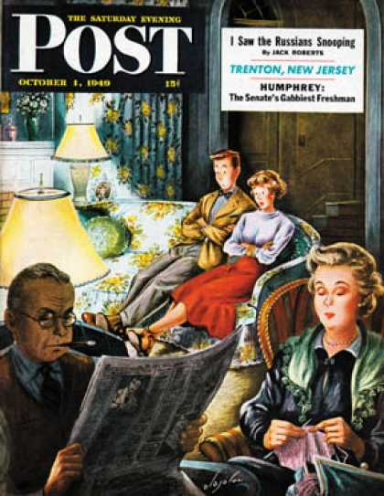 Saturday Evening Post - 1949-10-01: TV Date (Constantin Alajalov)