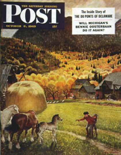 Saturday Evening Post - 1949-10-08: Belgian Horse Farm (John Clymer)