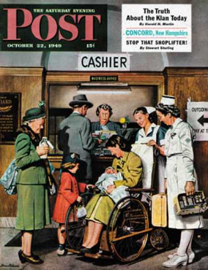 Saturday Evening Post - 1949-10-22: Leaving the Hospital (Stevan Dohanos)