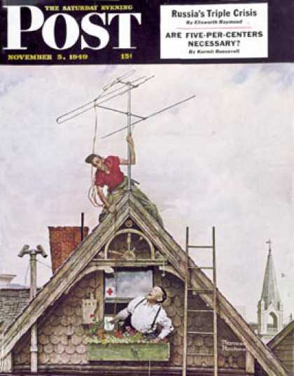 "Saturday Evening Post - 1949-11-05: ""New T.V. Set"" (Norman Rockwell)"