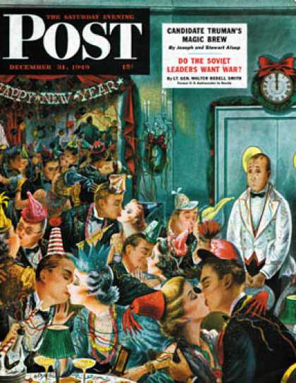 Saturday Evening Post - 1949-12-31: Midnight and Nobody to Kiss (Constantin Alajalov)