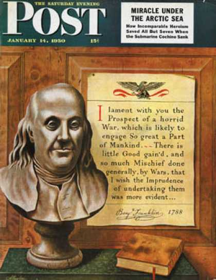 Saturday Evening Post - 1950-01-14: Benjamin Franklin - bust and quote (John Atherton)