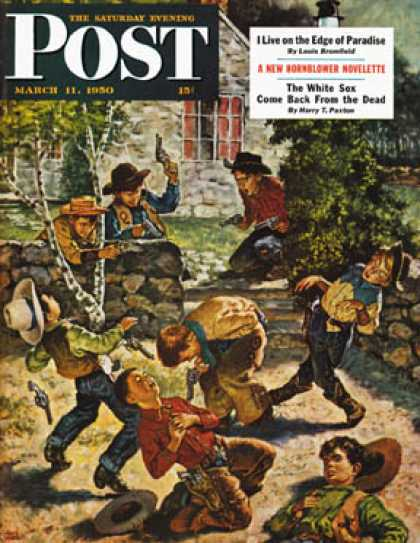 Saturday Evening Post - 1950-03-11: Playing Cowboy (Amos Sewell)