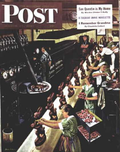 Saturday Evening Post - 1950-03-25: Chocolate Easter Bunnies (Stevan Dohanos)