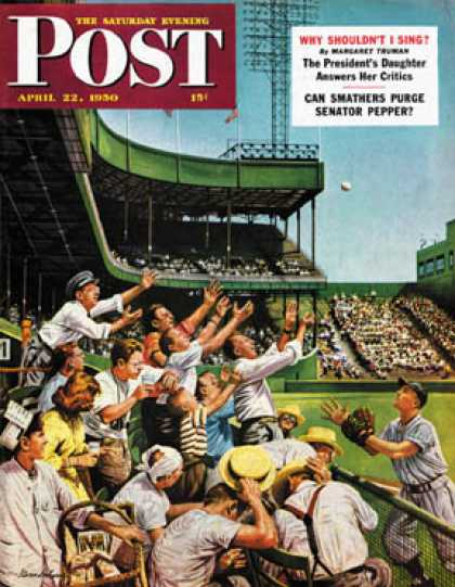 Saturday Evening Post - 1950-04-22: Catching Home Run Ball (Stevan Dohanos)