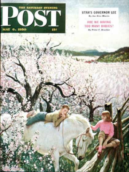 Saturday Evening Post - 1950-05-06: Apple Blossom Time (John Clymer)