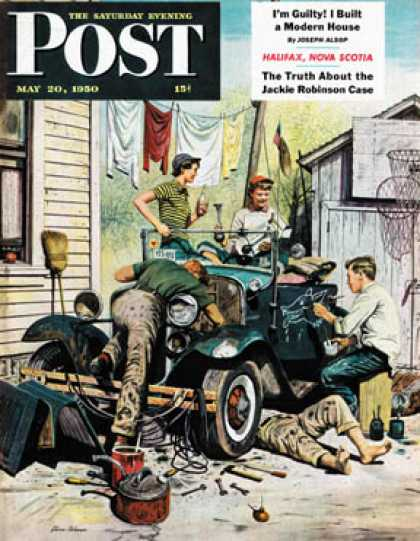 Saturday Evening Post - 1950-05-20: Working on the Jalopy (Stevan Dohanos)