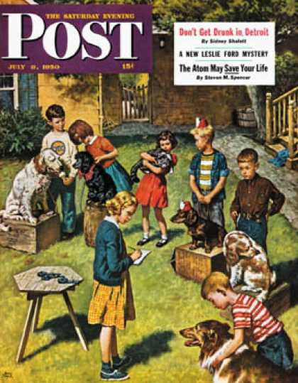 Saturday Evening Post - 1950-07-08: Backyard Dog Show (Amos Sewell)
