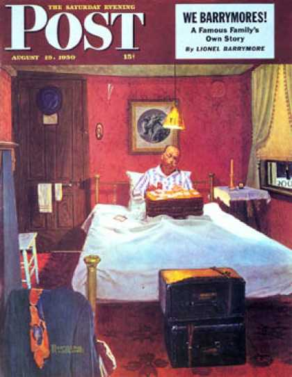 "Saturday Evening Post - 1950-08-19: ""Solitaire"" (Norman Rockwell)"
