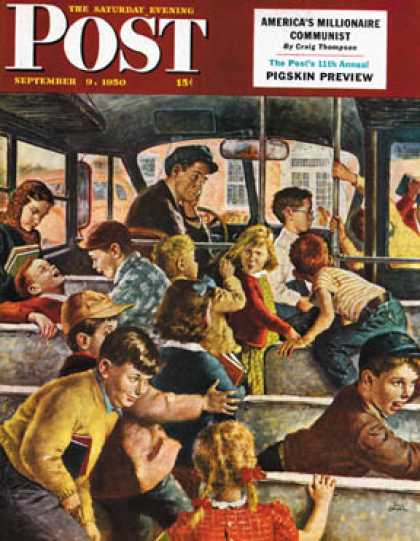 Saturday Evening Post - 1950-09-09: Rowdy Bus Ride (Amos Sewell)