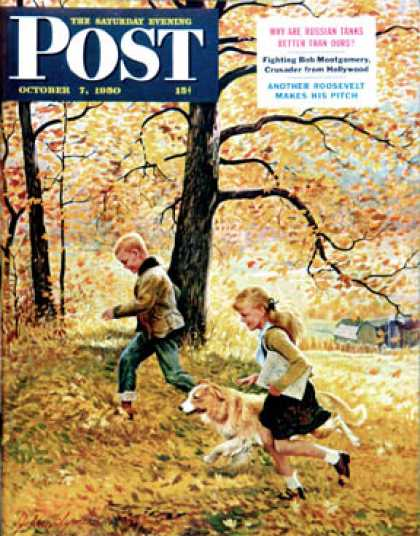 Saturday Evening Post - 1950-10-07: Walking Home Through Leaves (John Clymer)