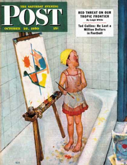 Saturday Evening Post - 1950-10-28: Artist in the Bathtub (Jack Welch)