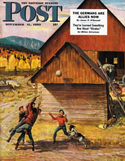 Saturday Evening Post - 1950-11-11: Ranch Basketball (John Clymer)