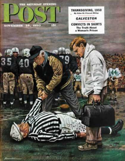 Saturday Evening Post - 1950-11-25: Ref Out Cold (Stevan Dohanos)