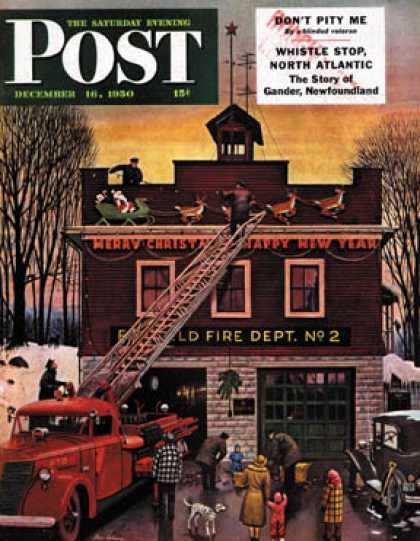 Saturday Evening Post - 1950-12-16: Christmas at the Fire Station (Stevan Dohanos)