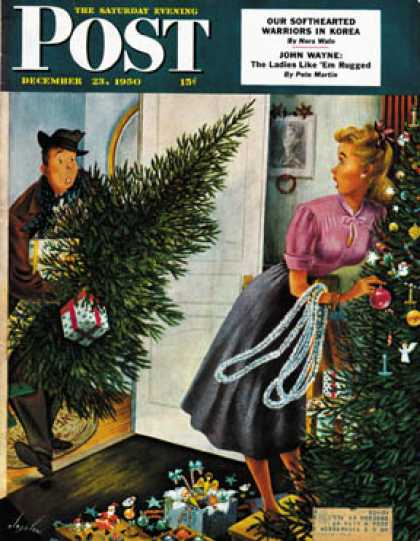 Saturday Evening Post - 1950-12-23: Tree Love (Constantin Alajalov)