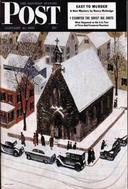Saturday Evening Post - 1951-01-06: Snowy Morning at Church (John Falter)