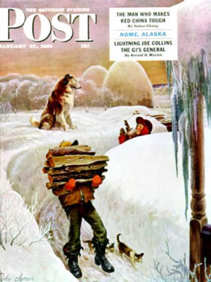 Saturday Evening Post - 1951-01-27: Gathering Wood (John Clymer)