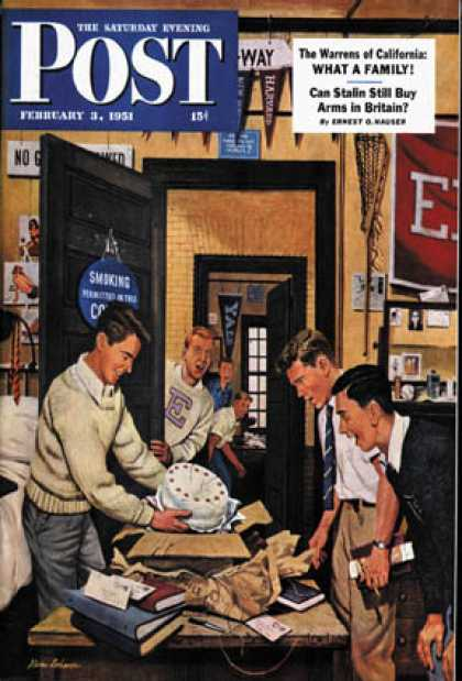 Saturday Evening Post - 1951-02-03: Package from Home (Stevan Dohanos)