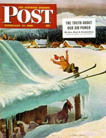 Saturday Evening Post - 1951-02-17: Barn Skiing (John Clymer)