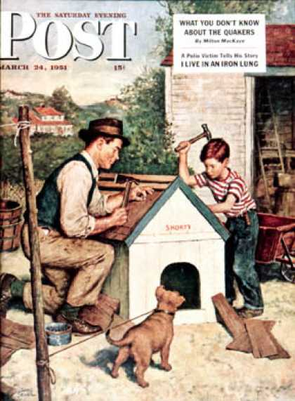 Saturday Evening Post - 1951-03-24: Building the Doghouse (Amos Sewell)