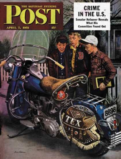 Saturday Evening Post - 1951-04-07: Tex's Motorcycle (Stevan Dohanos)