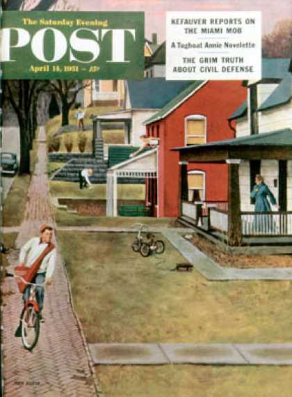 Saturday Evening Post - 1951-04-14: Paperboy (John Falter)