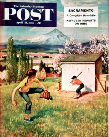 Saturday Evening Post - 1951-04-21: Oregon Baseball (John Clymer)