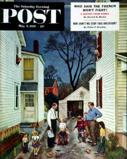 Saturday Evening Post - 1951-05-05: Shaking Hands after the Fight (John Falter)