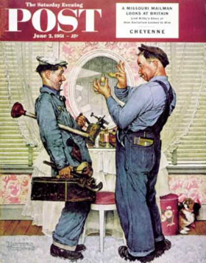 "Saturday Evening Post - 1951-06-02: ""Plumbers"" (Norman Rockwell)"