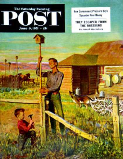 Saturday Evening Post - 1951-06-09: Putting Up Birdhouses (John Clymer)