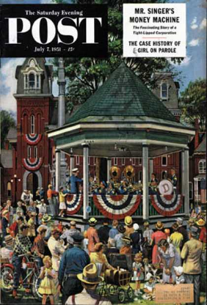 Saturday Evening Post - 1951-07-07: Patriotic Band Concert (Stevan Dohanos)
